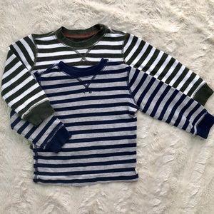 5/$25, 2 boys striped thermal long sleeve shirts
